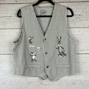Looney Tunes Bugs Bunny White Denim Striped Vest